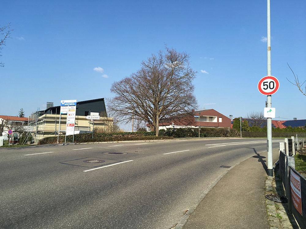 Nachträgliches Tempo 50-Schild auf der L1210 in Fahrtrichtung Neuffen VZ 274-50